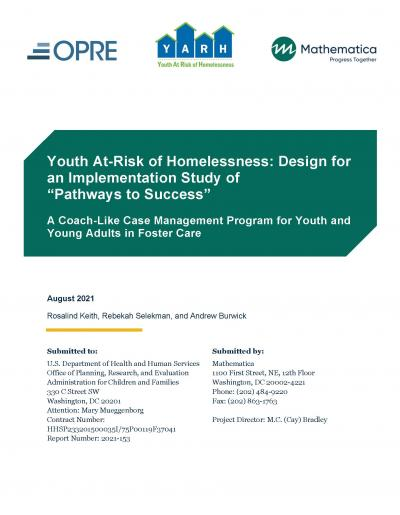 Cover image for Youth At-Risk of Homelessness Implementation Study