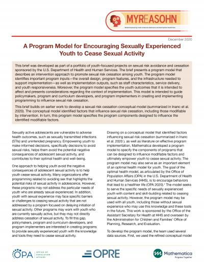 Report cover for MYReASOHN program model brief
